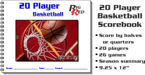 20 Player Basketball Scorebook